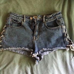Pacsun lace up jeans shorts